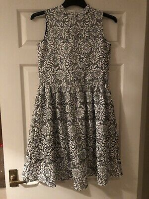 RIVER ISLAND Gorgeous Black/ White Flowery Girls Dress Aged 12 Worn Once