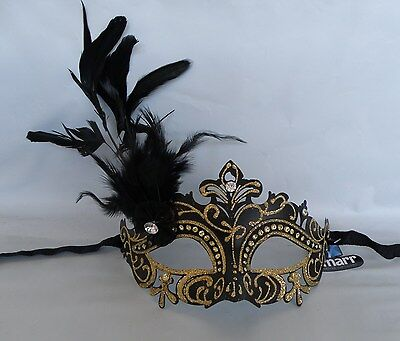 Gold Glitter Venetian Masquerade Party Mask With Butterfly * New *