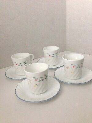 Corning Corelle English Meadow Lots of 8 Cups 4 Saucers 4 Swirl / Floral Pattern