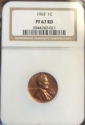 1963 1c Proof Lincoln Memorial Cent NGC PF 67 RD Beautiful Coin