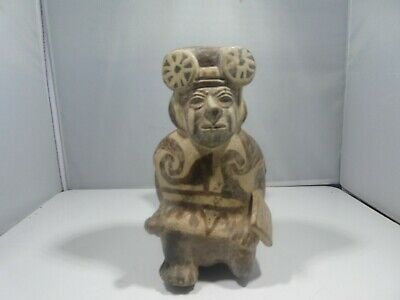 Authentic  Pre Columbian  Moche Warrior Stirrup Vessel From Major Auction House