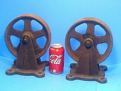 Pair Large 8'' Antique Iron Industrial Caster Cart Wheels Steampunk