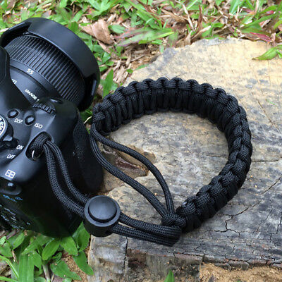 Adjustable Camera Wrist Strap Braided Paracord Strong Weave Lanyard DSLR Black