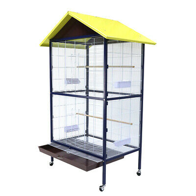 XL Large Metal Bird Cage Wheels Aviary Perch Budgie Canary Parrot House W Stand