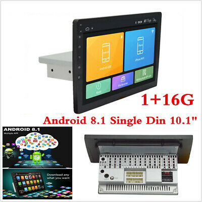 """10.1"""" Single Din Android 8.1 HD Quad-Core Car Stereo Radio GPS WiFi Mirror Link"""