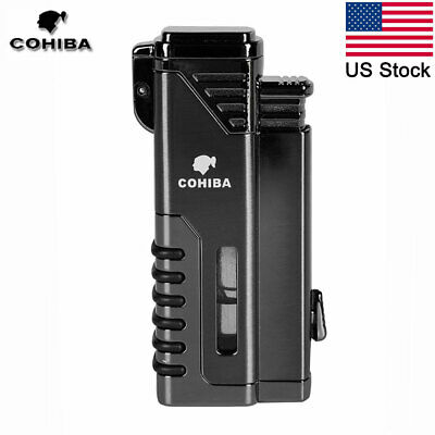 COHIBA Windproof Cigar Lighter 4 Torch  Butane Gas Refillable Lighter w/ Punch