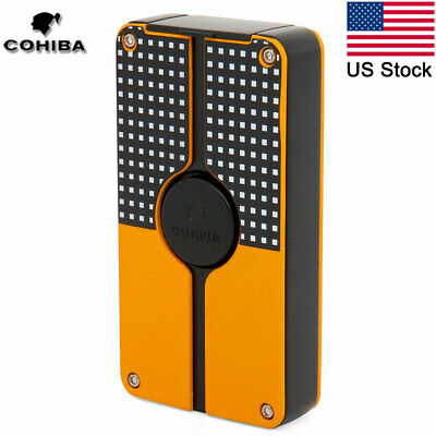 COHIBA Classic 3 Torch Jet Flame Metal Cigar Lighter Refillable Gas w/ Punch