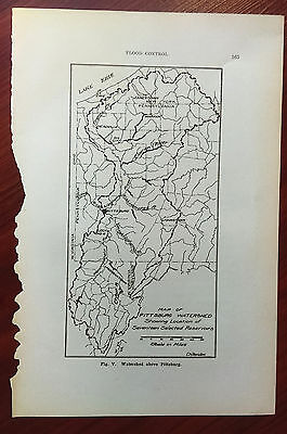 Early 1900's Map of Pittsburg Watershed Location 17 Reservoirs by Chittenden