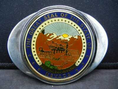 "VINTAGE ""NEVADA STATE BELT BUCKLE"" .999 SILVER PLATED fashion state emblem"