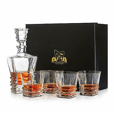 Crystal Whisky Decanter Set of 4 Glasses Lead Free 'Hobart' Spirit Whiskey GIFTS