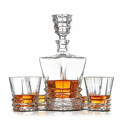 Crystal Whiskey Decanter Set of 4 Glasses Lead Free 'Hobart' Spirit Whisky GIFTS