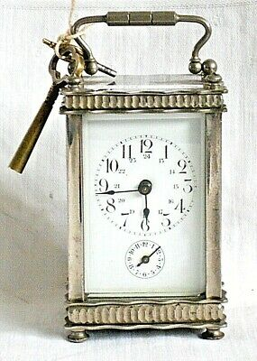 French  Silver Carriage Clock With Alarm