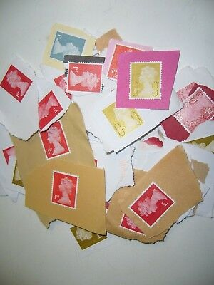 50 1st Class Mixed Colour Head GB Unfranked Postage Stamps on paper