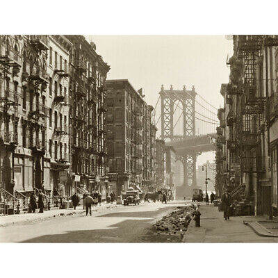 New York Pike Street Manhattan Bridge Photo Canvas Wall Art Print Poster