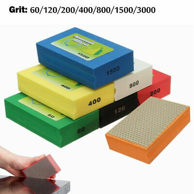 60-3000Grit Diamond Polishing Hand Pads Block For Granite Marble Glass Grinding