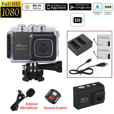 WiFi 4K 170°Waterproof Action Video Sports Camera+Mic+Controller+Battery+Charger