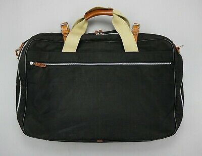 Vtg 80's Bergdorf Goodman Canvas Leather Bag Soft Luggage Suitcase Travel Italy