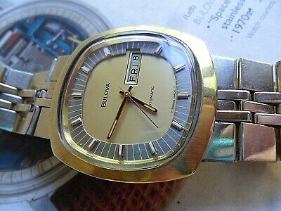 Super Clean Vintage 1970's Men's Bulova Automatic Day Date Watch All Original