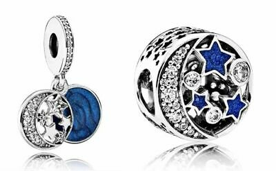 037cf79c9 set 2 PANDORA Vintage Night Sky Charm 791992CZ Midnight 791993CZ orbit  midnight