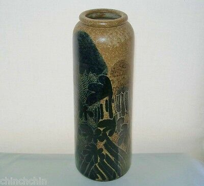 """Mind Bending FASCINATING Signed ART POTTERY VASE Crich 12"""" Tall DIANA WORTHY"""