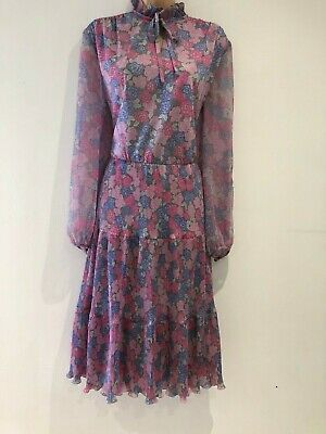 Vintage 70's Pink Purple & Grey Floral Print Long Sleeve Pleated Dress Size 14