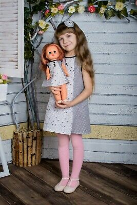 "Girl 4-6 And Doll 18"" Matching Dress  100% Cotton"