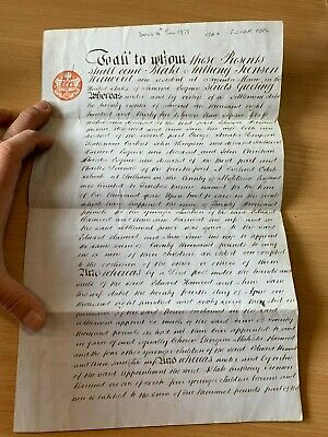 14 June 1878 Power Of Attorney Document Us Citizen B A J Harwood Augusta Maine