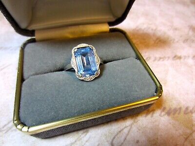 Antique ART DECO Genuine 1920's AQUAMARINE 830 SILVER Women's Ring Size 8
