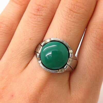 Sizable Green Onyx Sterling Silver Overlay 4 Grams Ring Size 6 US Light Weight
