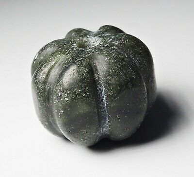Antique old Guatemala Carved Melon Old Dark Green Real Jade Melon Bead