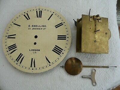 English Fusee Clock Movement With Pendulum & Dial, Dial Signed,Snelling, London