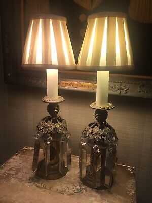 Pair Of Antique Bronze Regency Candlesticks Converted To Table Lamps With Shades