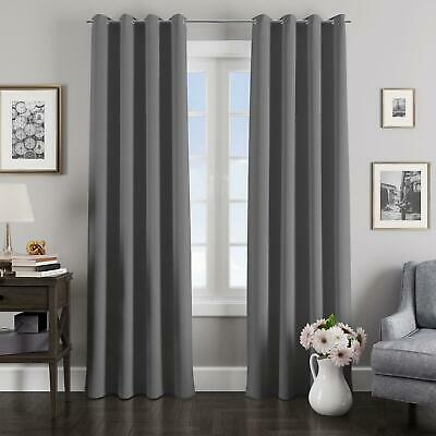 Charcoal Grey Curtains Blockout Thermal Eyelet Curtain Ready Made Ring Top Pairs