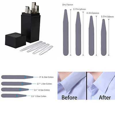 Men's Collar Stays Stainless Steel Metal For Dress Shirts 4 Sizes 40 PC Mens