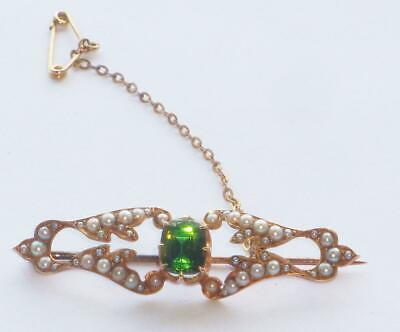 EXCEPTIONAL ANTIQUE LARGE HEAVY 15ct GOLD CUPID BOW LIPS BROOCH GREEN TOURMALINE