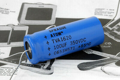Sprague Atom TVA 1620 Axial Electrolytic Capacitor, 100uF/350VDC