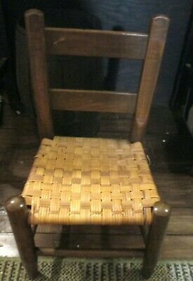 Vintage Child's Corner Timeout Wood Cane Woven Chair
