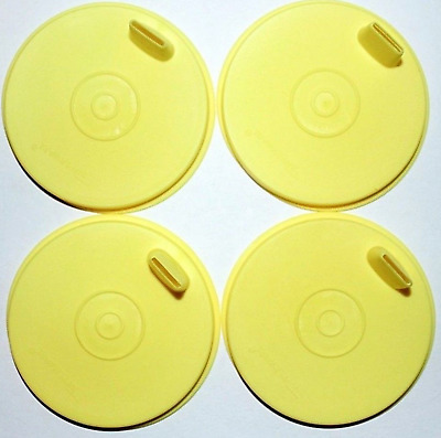 4 New Tupperware Sipper Sippy Flat Seals / Lids - Yellow - New in Package