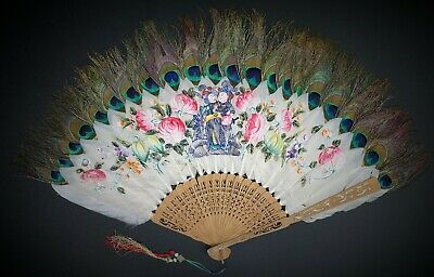 Antique 19th Century Chinese Hand Fan Carved Figural on Peacock Feathers