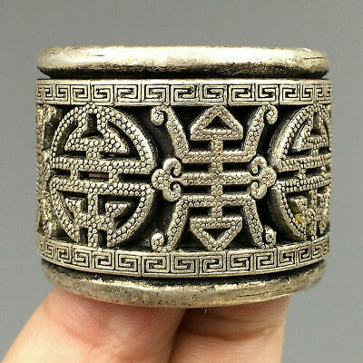 Relief DIY Jewelry Collection Tibetan Silver Ring Hand Carved Decorative Pattern