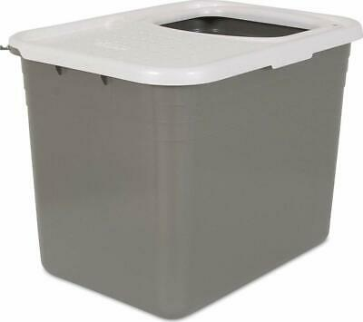 Petmate Top Entry Litter Pan Cat Box Brushed Nickel Pearl White