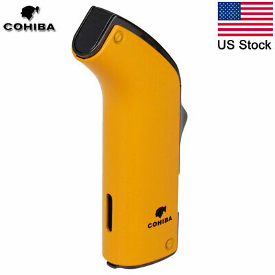 COHIBA Windproof Cigar Lighter Butane 2 Torch Jet Refillable Cigarette Lighter