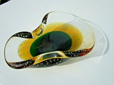 Vintage Murano Italian Art Glass Controlled Bubble GOLD GREEN - GORGEOUS