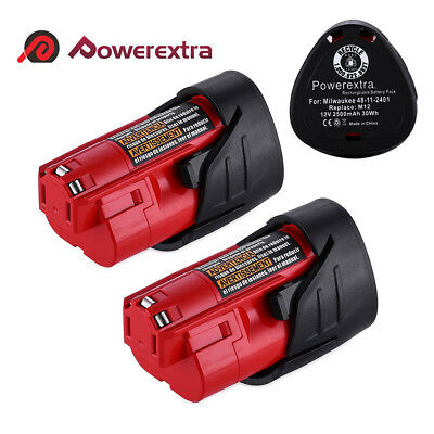2pc 2.5Ah 12V Battery For Milwaukee 48-11-2460 48-11-2412 M12 XC LITHIUM Tools