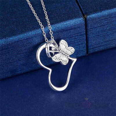 925  Silver beautiful cute women HEART flower Butterfly Necklace charm jewelry