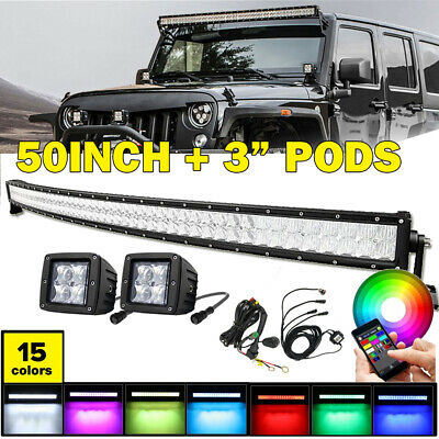 "Curved 50"" Inch LED Work Light Bar + 2x 3"" pods 5D RGB Music Bluetooth & Harness"
