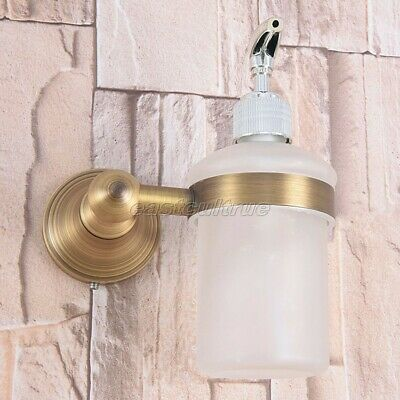 Antique Brass Kitchen Bathroom Frosted Glass Pump Soap Dispenser Holder eba169