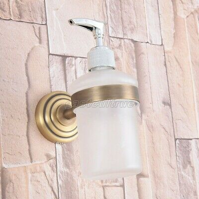 Antique Brass Kitchen Bathroom Frosted Glass Pump Soap Dispenser Holder eba743