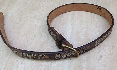 Western American Leather Belt Vintage Embossed Cowboy
