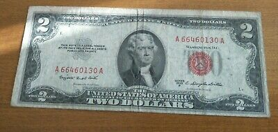 Rare! Usa Old 1953 Series B First Prefix A Two (2) Dollar Red Seal Banknote!